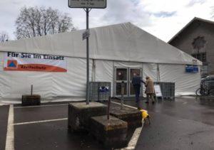 接種専門のテント